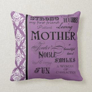 Modern Word Cloud Mother Text Sayings - Purple Throw Cushions