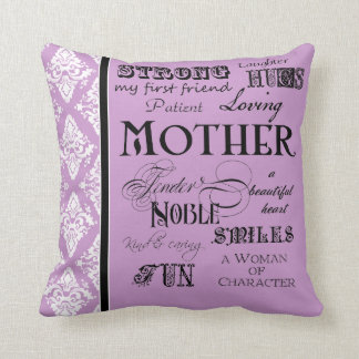 Modern Word Cloud Mother Text Sayings - Purple Throw Pillow