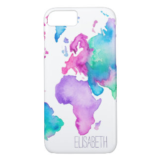 Modern world map globe bright watercolor monogram iPhone 8/7 case