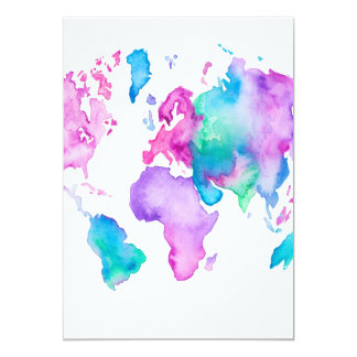 Modern world map globe bright watercolor paint 13 cm x 18 cm invitation card