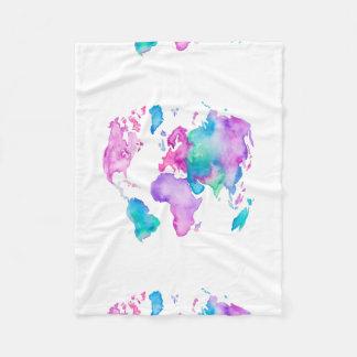 Modern world map globe bright watercolor paint fleece blanket
