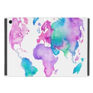 Modern world map globe bright watercolor paint iPad mini case