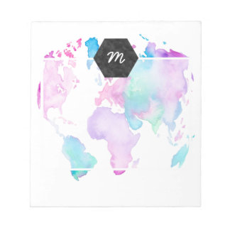 Modern world map globe bright watercolor paint notepad