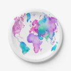 Modern world map globe bright watercolor paint paper plate