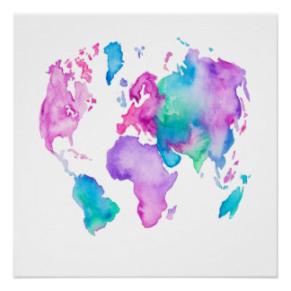 Modern world map globe bright watercolor paint