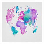 Modern world map globe bright watercolor paint poster