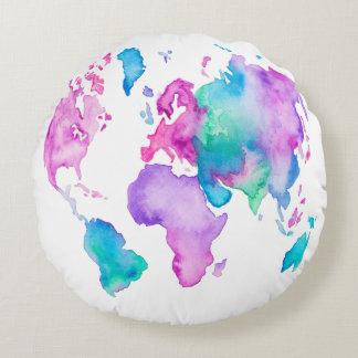 Modern world map globe bright watercolor paint round cushion