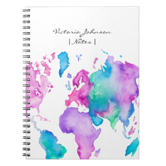 Modern world map globe bright watercolor paint spiral notebook