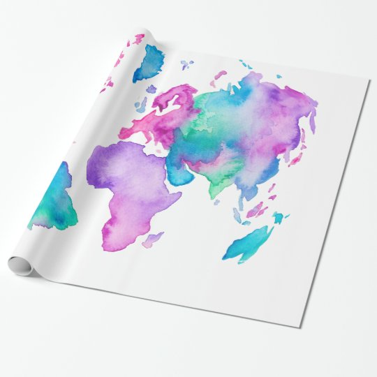Modern world map globe bright watercolor paint wrapping