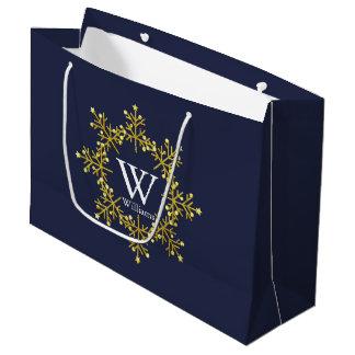 Modern Wreath Gold Tones Monogram Large Gift Bag