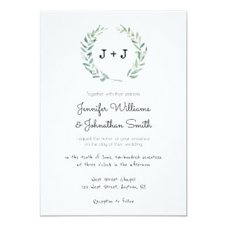 Modern wreath wedding invitations