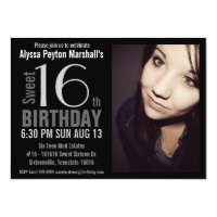 Modern XL Photo Sweet 16th Birthday Party Card