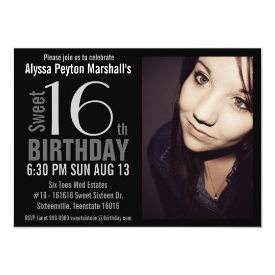 Modern XL Photo Sweet 16th Birthday Party Card