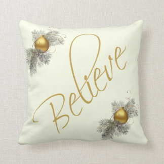 Modern Xmas, Believe (w/ ornaments) gold & cream Throw Pillow