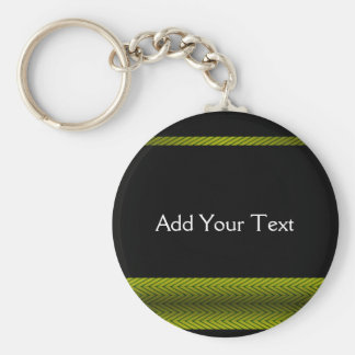 Modern Yellow and Black Racing Stripe Basic Round Button Key Ring