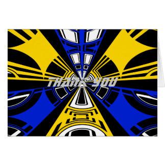 Modern yellow and blue circle design greeting card