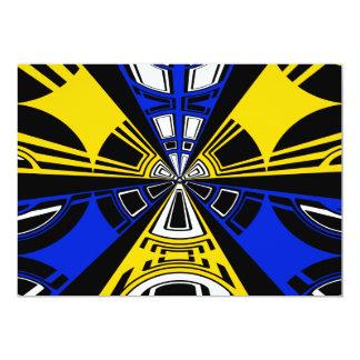 Modern yellow and blue circle design 13 cm x 18 cm invitation card