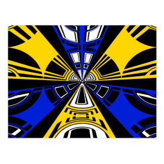 Modern yellow and blue circle design postcard