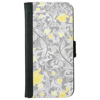 Modern Yellow and Gray Swirly Floral iPhone 6 Wallet Case