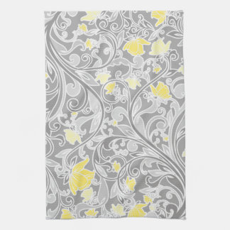 Modern Yellow and Gray Swirly Floral Tea Towel
