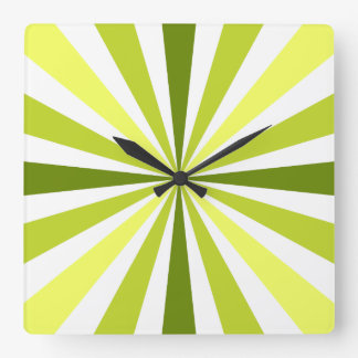 Modern Yellow and Green Striped Clock