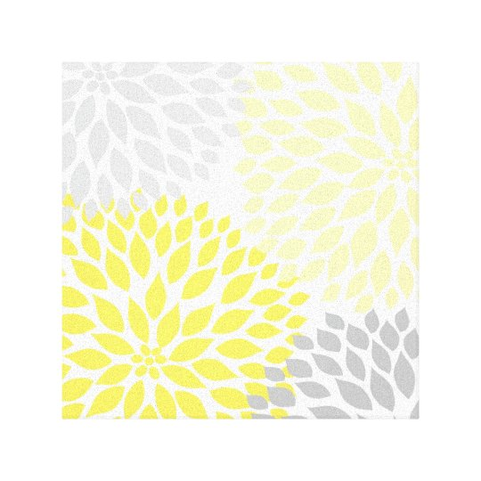 Modern Yellow and Grey Dahlia Square Wall Art md