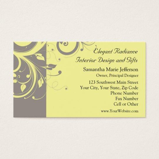 Modern Yellow and Grey Swirl Wedding Business Card
