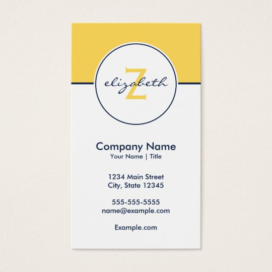 Modern Yellow and Navy Business Card
