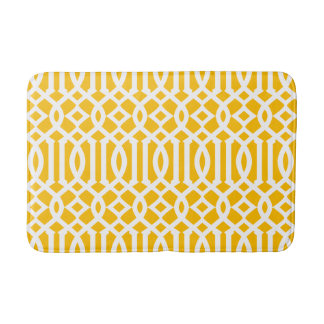 Modern Yellow and White Imperial Trellis Bath Mat