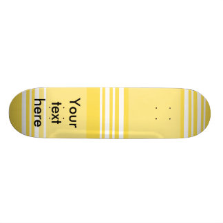 Modern yellow and white stripes 18.1 cm old school skateboard deck