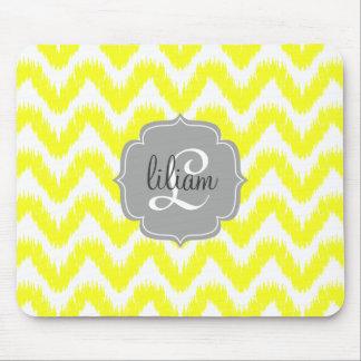 Modern Yellow Chevron Ikat Personalized Mousepad