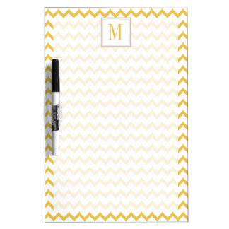 Modern Yellow Chevron Pattern Dry Erase Board