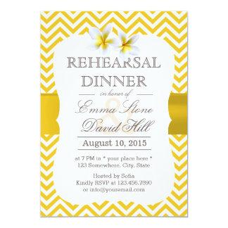 Modern Yellow Chevron Plumeria Rehearsal Dinner Card