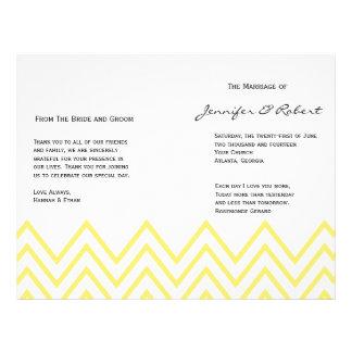 Modern Yellow Chevron Wedding Program Flyers