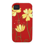 Modern  Yellow Flowers On Red iPhone 4/4S Case