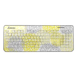 Modern Yellow Gray Floral office desk decor | name Wireless Keyboard