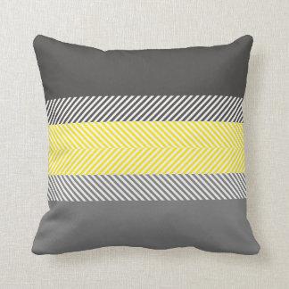 Modern Yellow & Gray Geometric Stripes Pattern Cushion