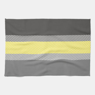 Modern Yellow & Gray Geometric Stripes Pattern Tea Towel
