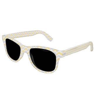 Modern Yellow Gray White Chevron Pattern Sunglasses