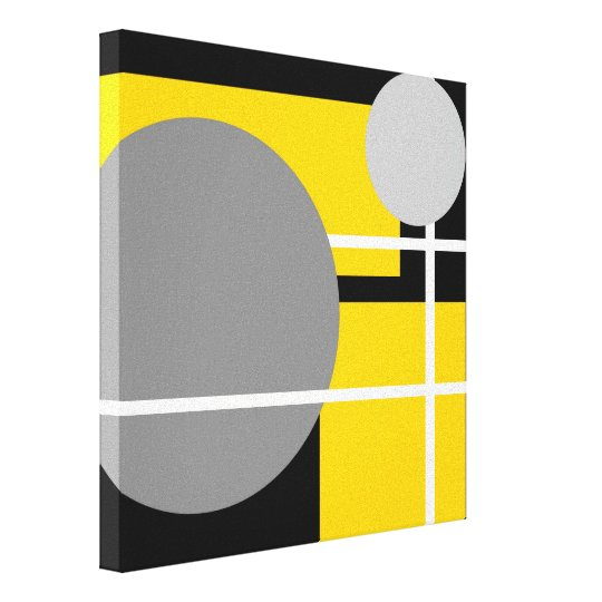 Modern Yellow Grey Black White - Wrapped Canvas