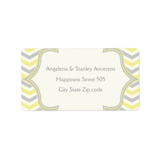 Modern yellow grey chevron zigzag wedding label