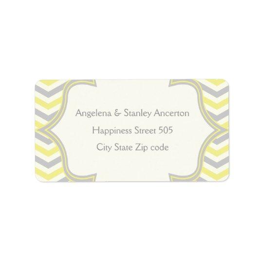 Modern yellow grey chevron zigzag wedding label address label