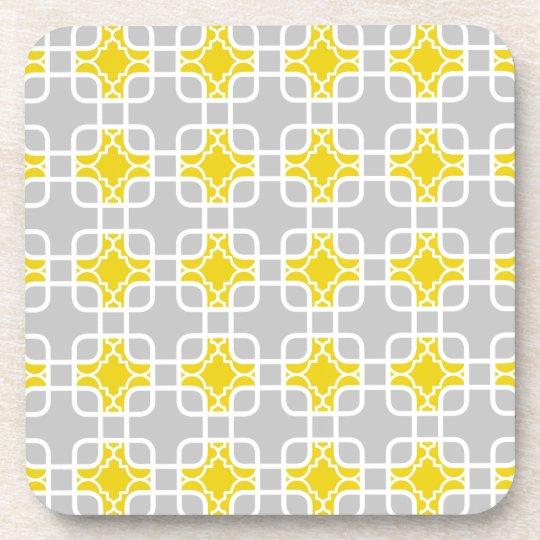 Modern Yellow & Grey Geometric Pattern Beverage Coaster