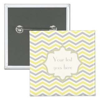 Modern yellow, grey, ivory chevron pattern custom 15 cm square badge