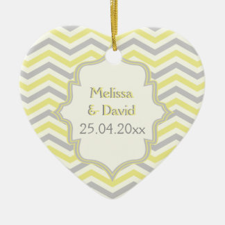 Modern yellow, grey, ivory chevron pattern custom ceramic heart decoration