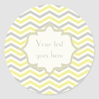 Modern yellow, grey, ivory chevron pattern custom classic round sticker