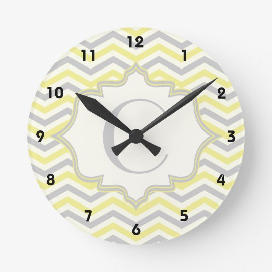 Modern yellow, grey, ivory chevron pattern custom clocks