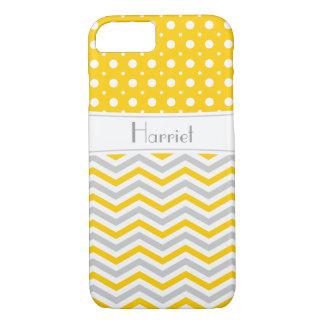 Modern yellow, grey, white chevron & polka dot iPhone 7 case