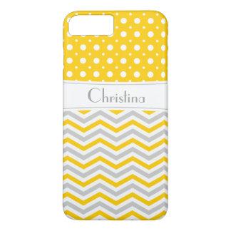 Modern yellow, grey, white chevron & polka dot iPhone 7 plus case