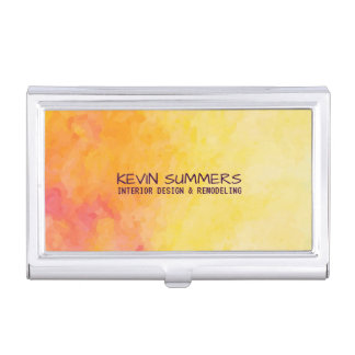 Modern Yellow & Orange Watercolor Background Business Card Holders